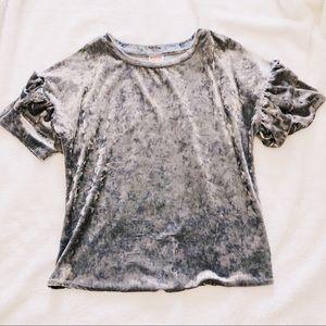 Silver Velvet Ruffle Sleeve Top